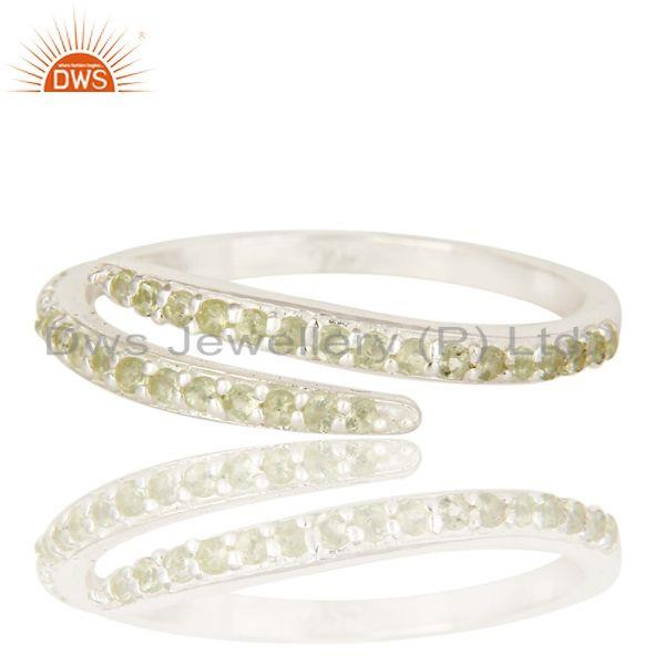 Exporter 925 Sterling Silver Natural peridot Gemstone Eternity Halo Adjustable Ring