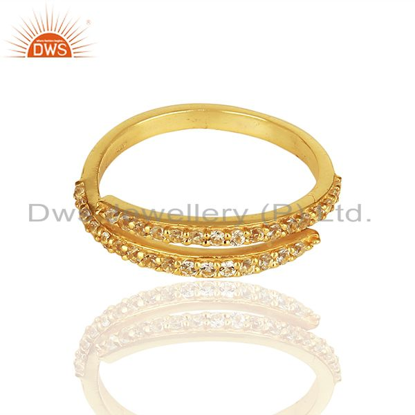 Exporter Handmade Gold Plated 925 Silver White Topaz Midi Rings Suppliers