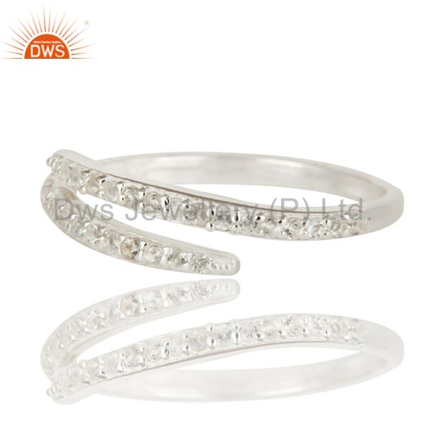 Exporter 925 Solid Sterling Silver White Topaz Eternity Halo Adjustable Ring