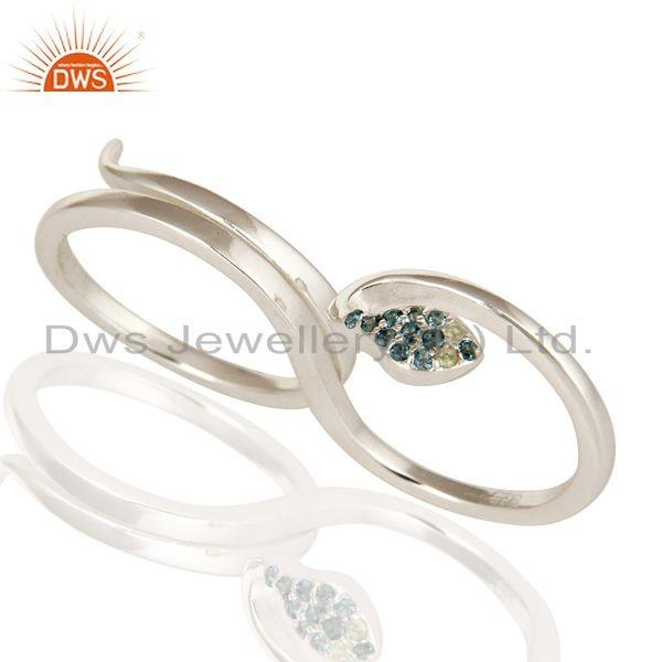Exporter 925 Sterling Silver Blue Topaz And Peridot Snake Two Finger Adjustable Ring