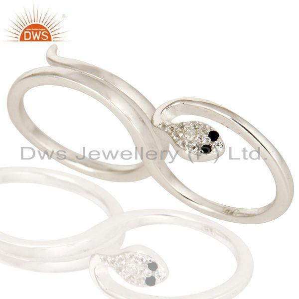 Exporter 925 Sterling Silver White Topaz And Black Spinel Snake 2 Finger Adjustable Ring
