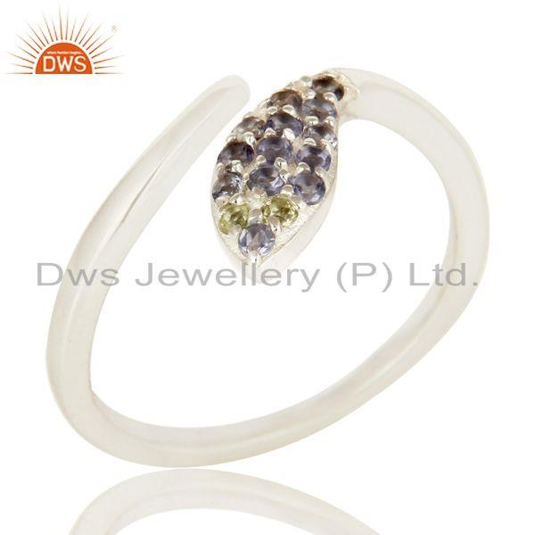 Exporter Natural Iolite And Peridot Gemstone Sterling Silver Adjustable Snake Ring