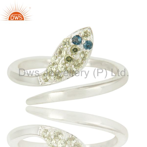 Exporter 925 Sterling Silver Peridot Gemstone Snake Design Ring With Blue Topaz