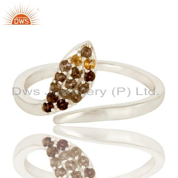 Exporter High Polish Sterling Silver Smoky Quartz And Citrine Adjustable Snake Ring
