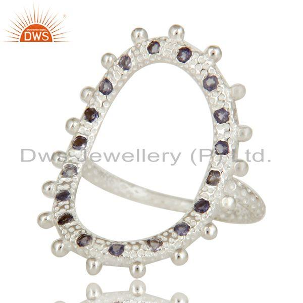 Exporter Sterling Silver Oval Cutout Statement Ring With Iolite Gemstone