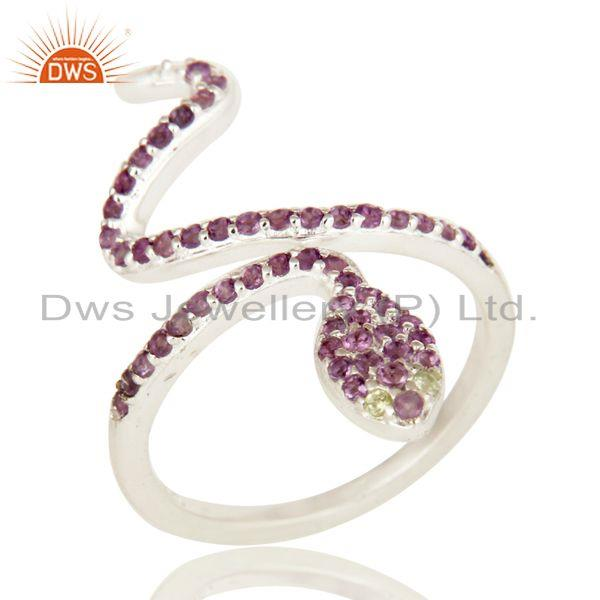 Exporter Natural Amethyst And Peridot Sterling Silver Adjustable Snake Ring