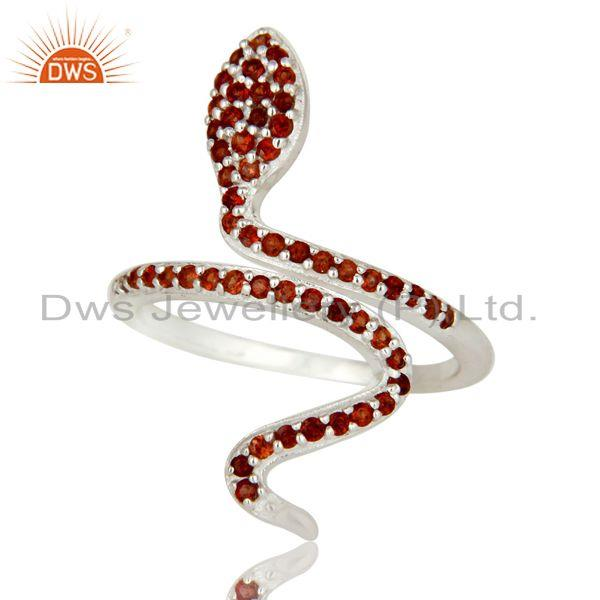 Exporter 925 Sterling Silver Pave Set Garnet Gemstone Snake Designer Adjustable Ring