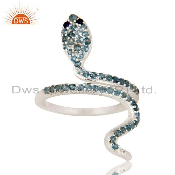 Exporter 925 Sterling Silver Blue Sapphire And London Blue Topaz Snake Statement Ring