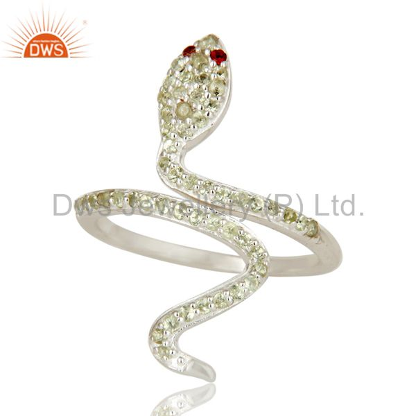 Exporter 925 Sterling Silver Peridot and Garnet Snake Statement Ring