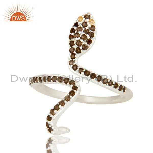 Exporter Natural Citrine And Smoky Quartz Sterling Silver Adjustable Snake Ring