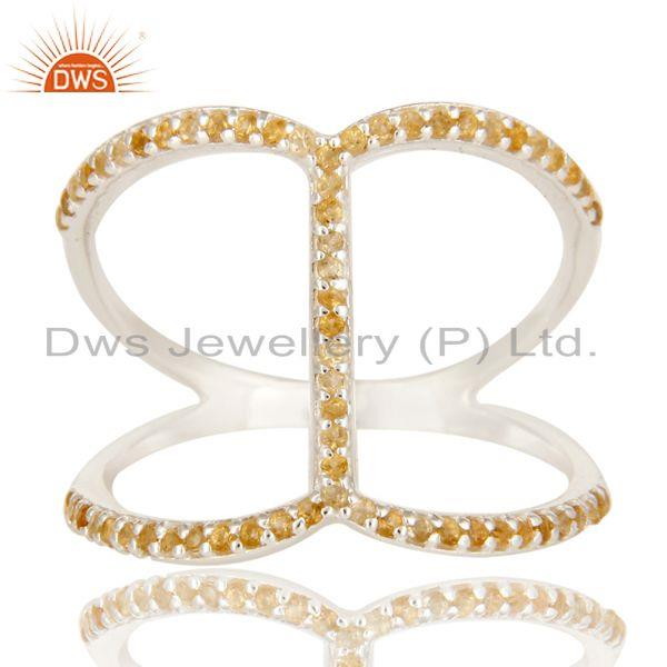 Exporter 925 Sterling Silver Natural Citrine Gemstone Stacking Ring