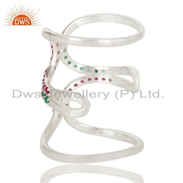 Exporter 925 Sterling Silver Emerald and Ruby Birthstone Gemstone Designer Knuckle Ring
