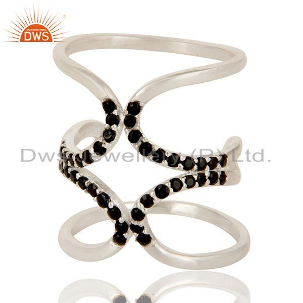 Exporter 925 Sterling Silver Black Spinel Gemstone Double Knuckle Ring Jewelry