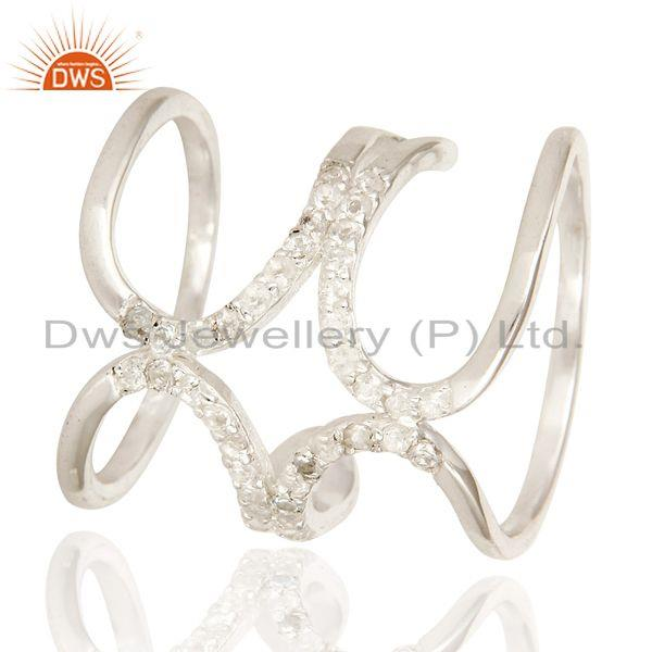 Exporter 925 Sterling Silver White Topaz Gemstone Accent Womens Long Knuckle Ring