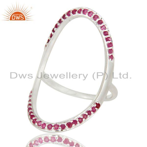 Exporter 925 Sterling Silver Pave Set Natural Ruby Gemstone Modern Infinity Ring
