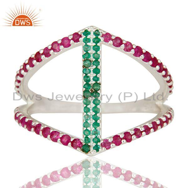 Exporter Emerald and Ruby Sterling Silver Designer Statement Ring