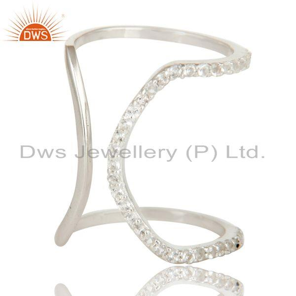 Exporter 925 Sterling Silver Pave Set White Topaz Halo Style Fashion Double Knuckle Ring