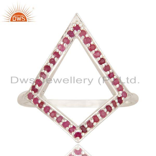 Exporter 925 Sterling Silver Ruby Gemstone Cutout Ring