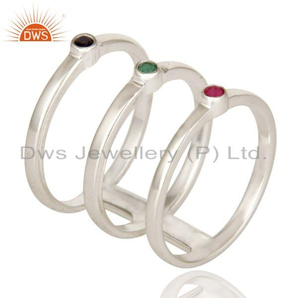 Exporter 925 Sterling Silver Long Tri Bar Ring With Emerald, Ruby And Blue Sapphire