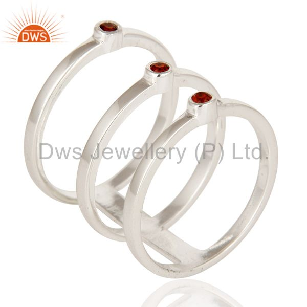 Exporter 925 Sterling Silver Natural Garnet Gemstone Stackable Ring Set of 3 Pieces