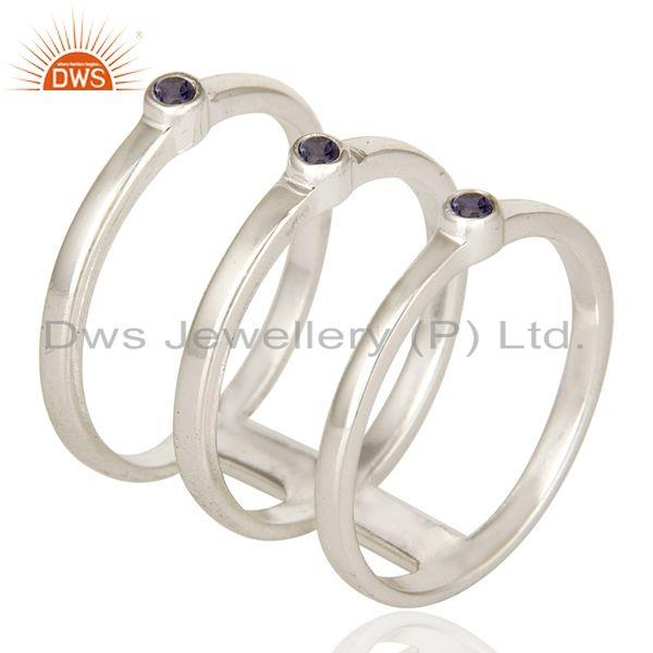 Exporter 925 Sterling Silver Modern Design Tri Bar Ring With Iolite Gemstone