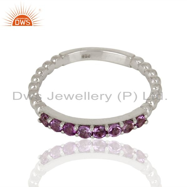 Exporter Amethyst Gemstone Cluster Stacking Eternity 925 Sterling Silver Band Ring