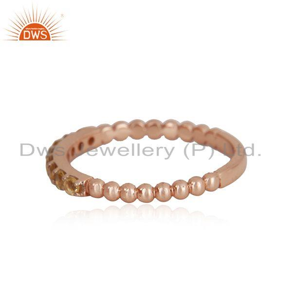 Manufacturer of Natural Citrine Gemstone Rose Gold Plated Sterling Silver Band Rings