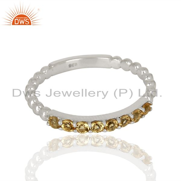 Exporter Citrine Gemstone Cluster Stacking Eternity 925 Sterling Silver Band Ring