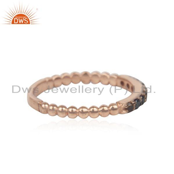Exporter Black Diamond Stone Rose Gold Plated Silver Stackable Band Rings
