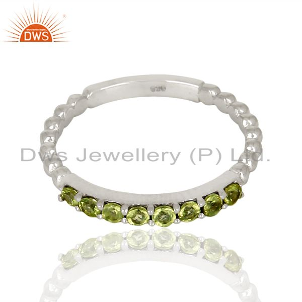 Exporter Peridot Gemstone Cluster Stacking Eternity 925 Sterling Silver Band Ring