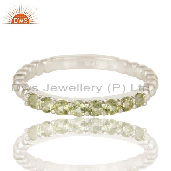 Exporter 925 Sterling Silver Natural Peridot Gemstone Rope Stacking Ring