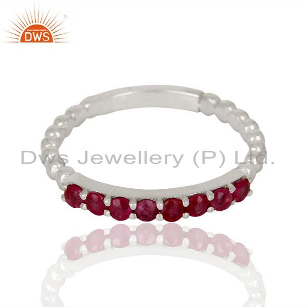 Exporter Natural Ruby Gemstone Cluster Stacking Eternity 925 Sterling Silver Band Ring