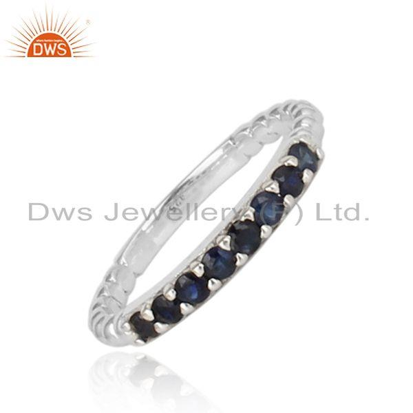 Micro set blue sapphire gemstone fine streling silver band rings