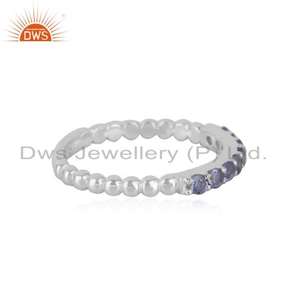 Exporter Tanzanite Gemstone Designer 925 Fine Silver Stackable Ring Jewelry