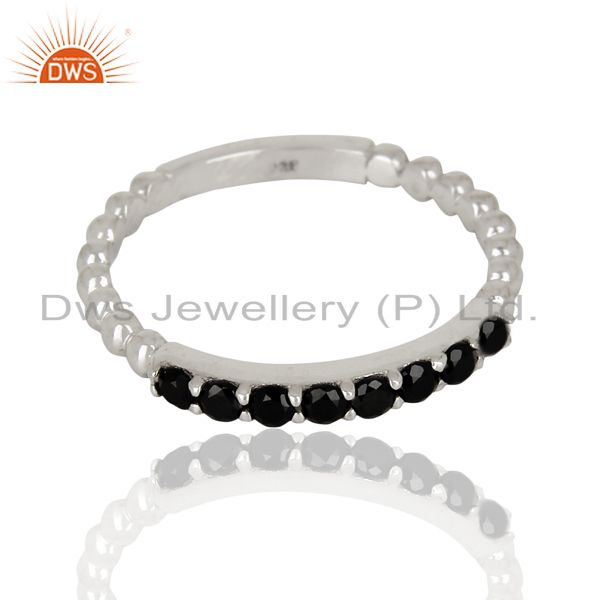 Exporter Black Onyx Gemstone Cluster Stacking Eternity 925 Sterling Silver Band Ring