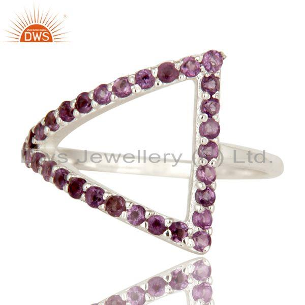 Exporter 925 Sterling Silver Round Cut Amethyst Cluster Trillion Open Stack Ring