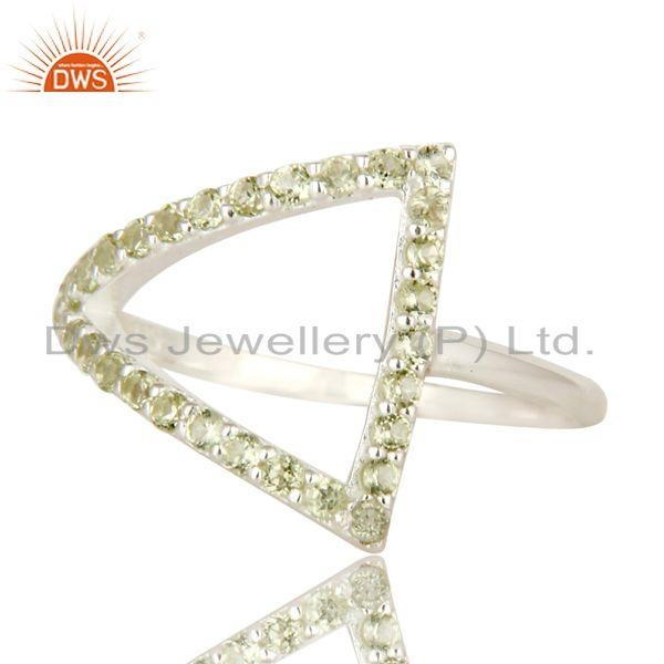 Exporter 925 Sterling Silver Peridot Gemstone Cut Out Open Ring