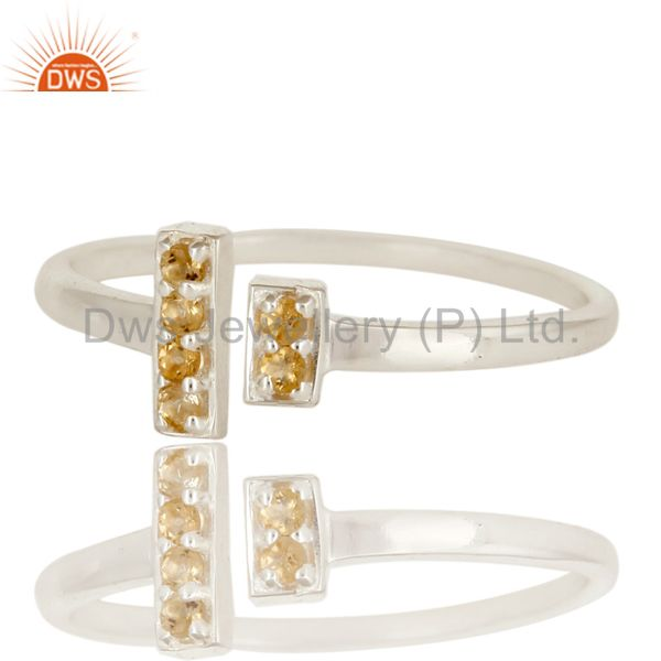 Exporter 925 Sterling Silver Citrine Gemstone Adjustable Stacking Ring