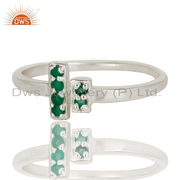 Exporter 925 Sterling Silver Pave Set Emerald Gemstone Modern Design Open Bar Ring