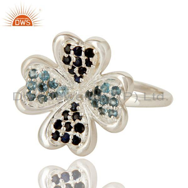 Exporter 925 Sterling Silver Blue Topaz And Blue Sapphire Gemstone Flower Cocktail Ring
