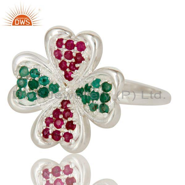 Exporter 925 Sterling Silver Ruby And Emerald Gemstone Flower Cocktail Ring