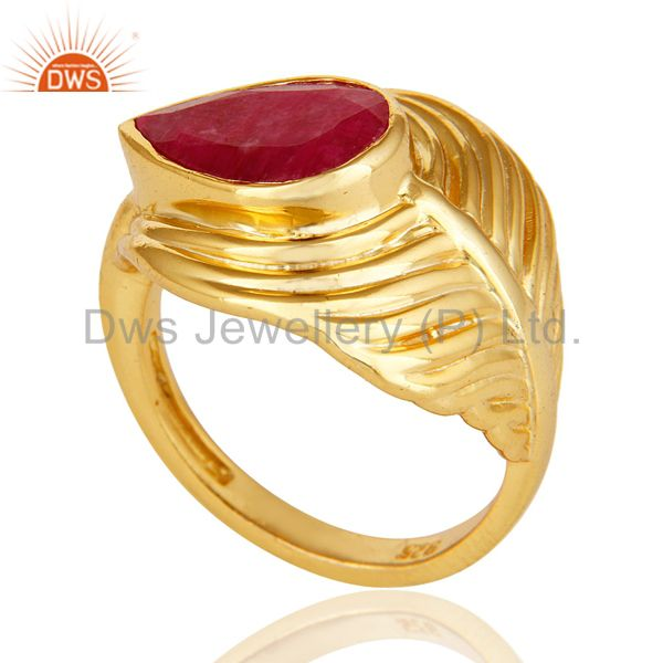 Exporter 14K Gold Over Sterling Silver Dyed Ruby Red Corundum Peacock Feather Ring