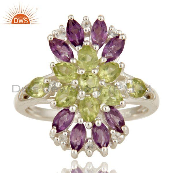 Exporter 925 Sterling Silver Amethyst And Peridot Gemstone Cluster Statement Ring