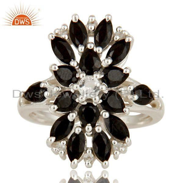 Exporter 925 Sterling Silver Black Onyx And White Topaz Gemstone Cluster Statement Ring