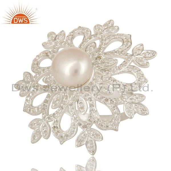 Exporter 925 Sterling Silver White Topaz And Pearl Flower Cocktail Ring