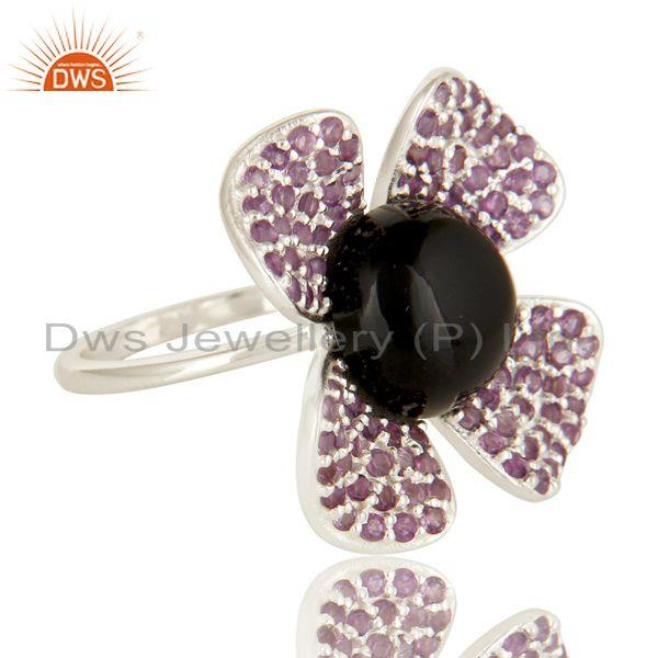 Exporter 925 Sterling Silver Black Onyx And Amethyst Gemstone Flower Cocktail Ring