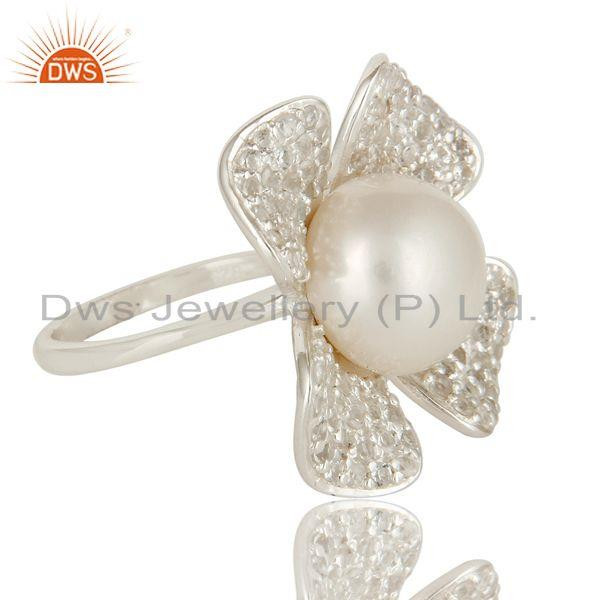 Exporter 925 Sterling Silver Natural Pearl Flower Cocktail Fashion Ring With White Topaz