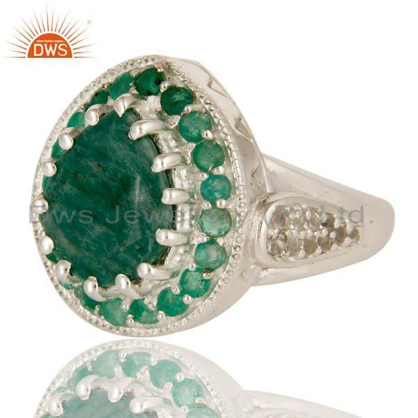 Exporter Emerald And White Topaz Sterling Silver Gemstone Designer Ring Jewelry
