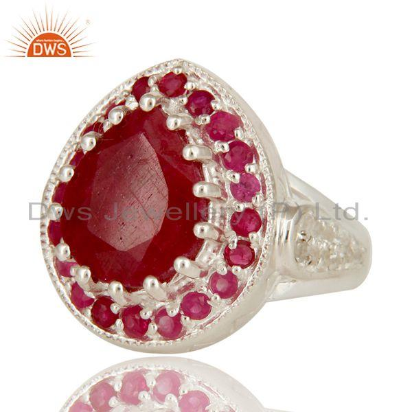 Exporter 925 Sterling Silver Red Corundum And White Topaz Gemstone Statement Ring
