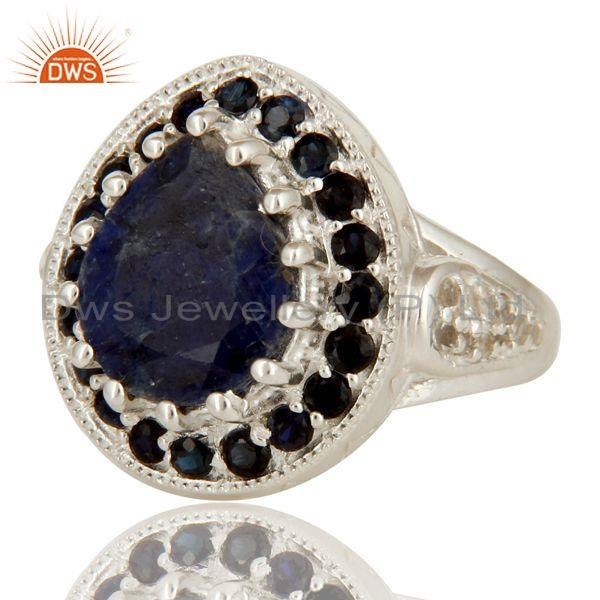 Exporter 925 Sterling Silver Blue Corundum And White Topaz Gemstone Statement Ring